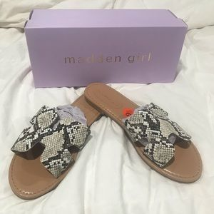 Madden girl snake skin slide on sandals